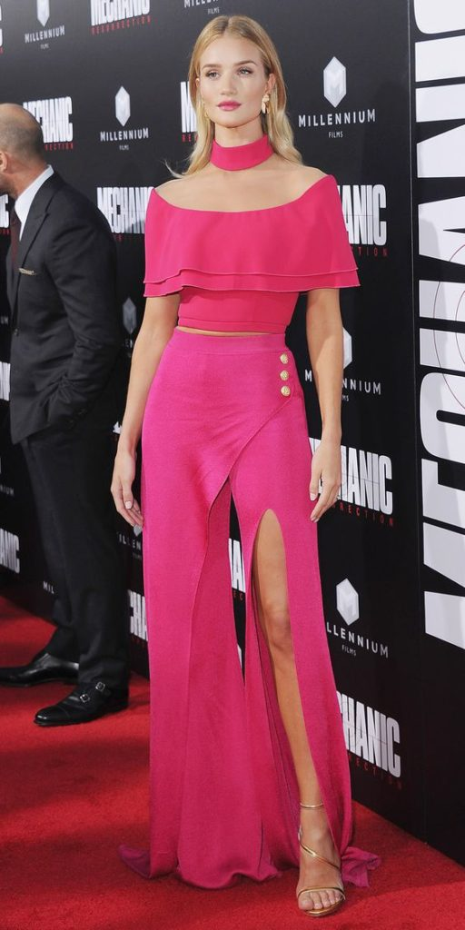 "HOLLYWOOD, CA - AUGUST 22:  Actress Rosie Huntington-Whiteley arrives at the Los Angeles Premiere ""Mechanic: Resurrection"" at ArcLight Hollywood on August 22, 2016 in Hollywood, California.  (Photo by Jon Kopaloff/FilmMagic)"